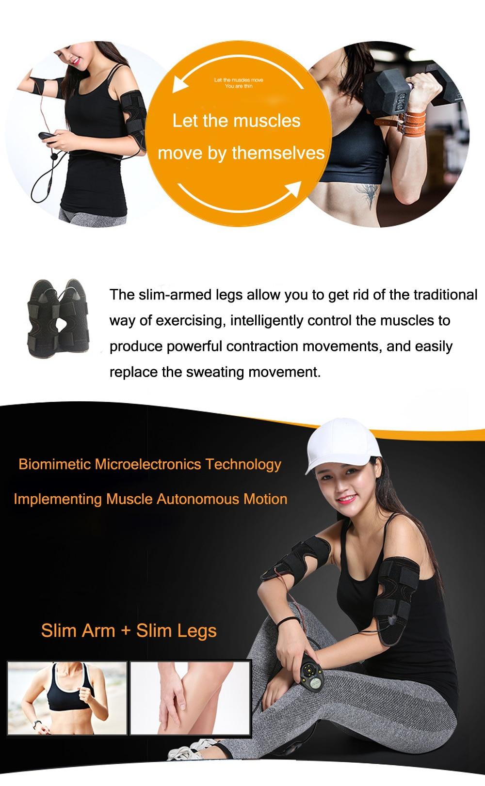 Electric EMS Muscle Stimulator Arm Thigh Fitness Belt Calf Slimming Electrostimulator Lose Weight Bodybuilding Massage Machine