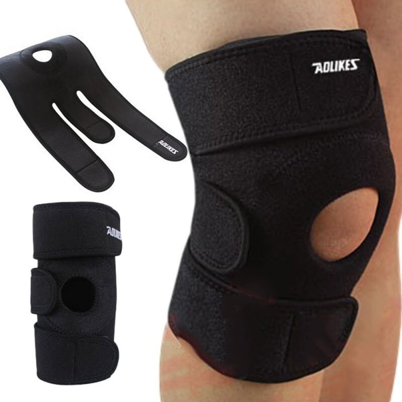Aolikes Adjustable Knee Patella Support Brace Sleeve Wrap Cap Stabilizer Sports Climbing Basketball Knee Protector Care Portable