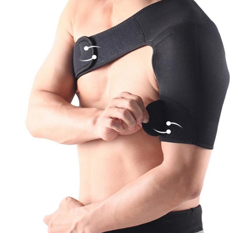 SPOSAFE Adjustable Gym Sports Care Single Shoulder Support Back Brace Guard Strap Wrap Belt Band Pads Black Bandage Men & Women