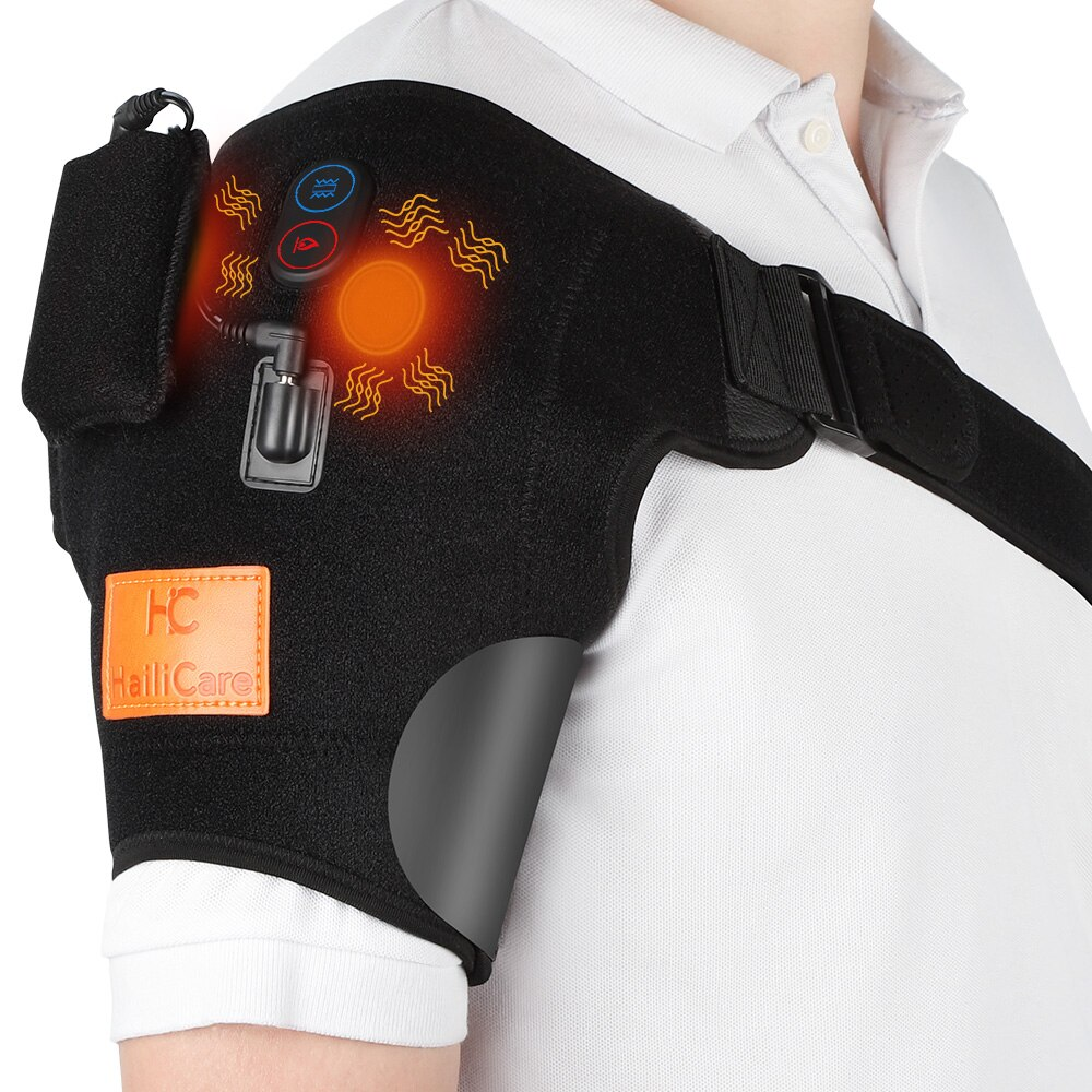 Electric Heat Therapy Shoulder Brace Adjustable Back Support Belt Vibrator Pain Relief Massager Shoulders Rehabilitation Wrap
