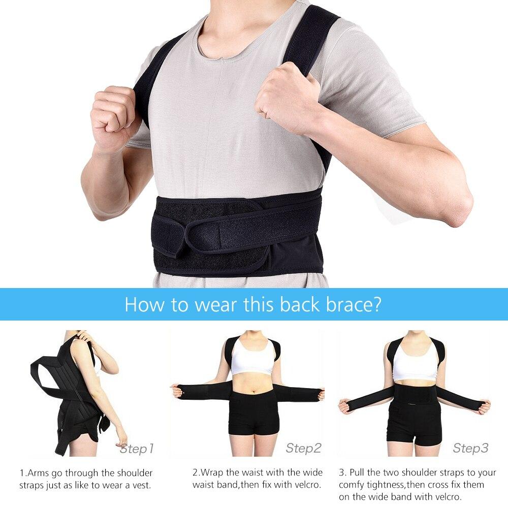 Straight Back Posture Corrector Shoulder Lumbar Brace Spine Support Belt Adjustable Corset Correction Body Improve with Plate