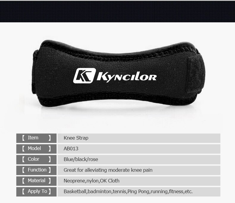 One Piece Adjustable Patella Knee Strap Brace Support Pad Pain Relief Band Stabilizer Hiking Soccer Basketball Volleyball Squats