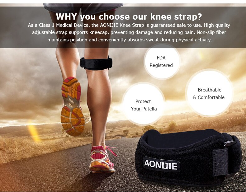 AONIJIE E4067 Adjustable Patella Knee Strap Brace Support Pad Pain Relief Band for Hiking Soccer Basketball Volleyball Squats