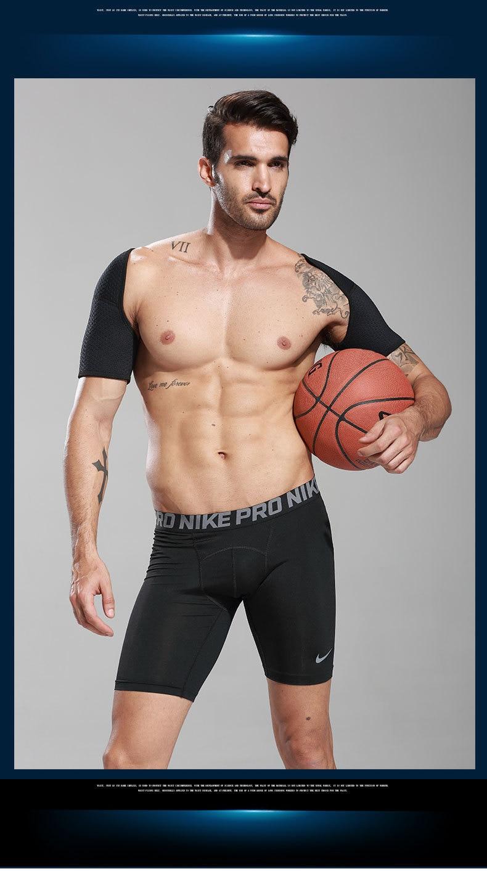 Double Shoulder Support Sports Back Shoulder Brace Protector Strap Breathable Shoulder Pad Wrap Belt Band for Pain Relief Gym